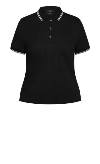 Varsity Polo Top - black