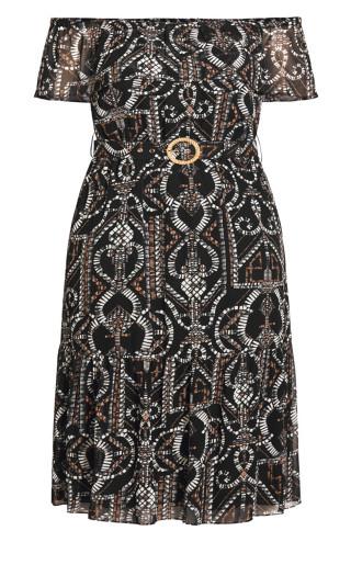 Exotic Tile Dress - black