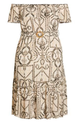 Exotic Tile Dress - ivory