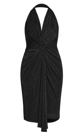 Halter Twist Dress - black