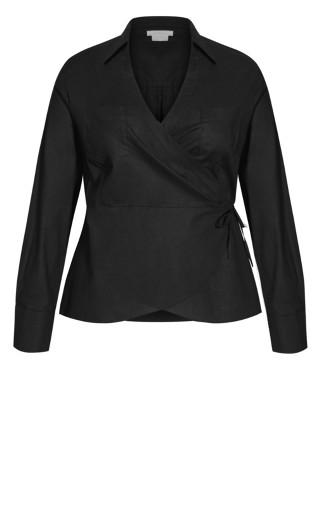 Pocket Wrap Shirt - black