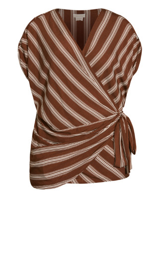Stripe Wrap Top - clove