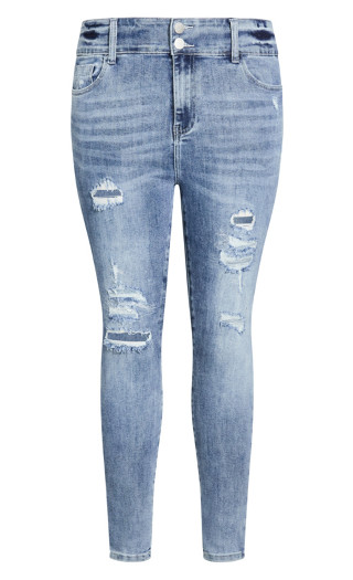 Asha Sassy Rips Jean - mid denim