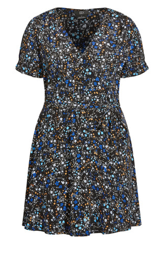 Blues Ditsy Dress - black