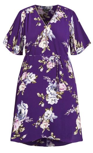 Wild Floral Short Sleeve Dress - lilac