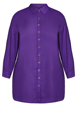 Celeste Longline Plain Shirt - purple