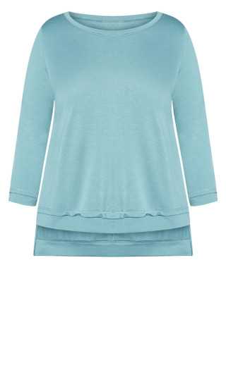 Hi Low Sweat Top - aquamarine