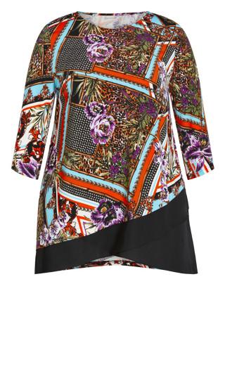 Simone Asymmetrical Print Tunic - multi