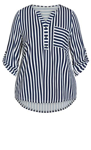Tamara Knit Stripe Top - navy