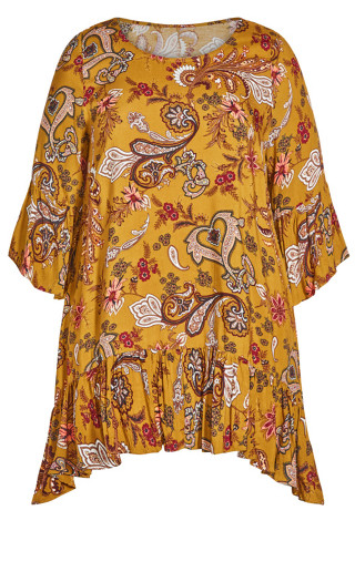 Brynn Ruffle Print Tunic - mustard floral