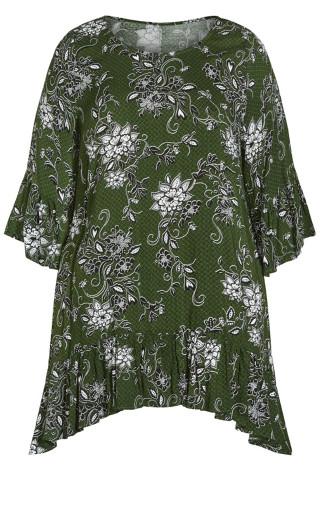 Brynn Ruffle Print Tunic - green floral
