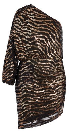 Sequin Stripe Dress - gold