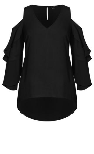Ruffle Cold Shoulder Top - black