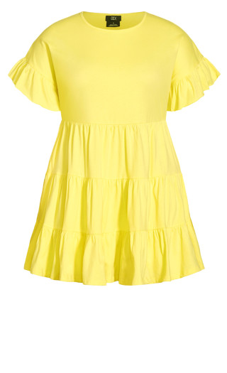 Flirty Tier Dress - lemon