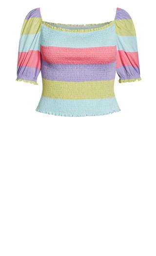 Multi Shirred Top - multi pastel