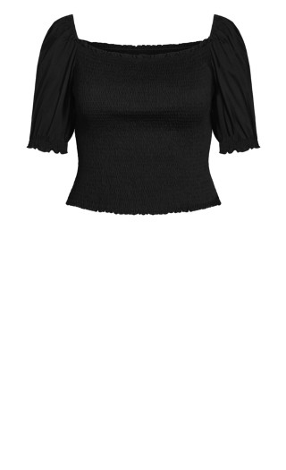 All Shirred Top - black