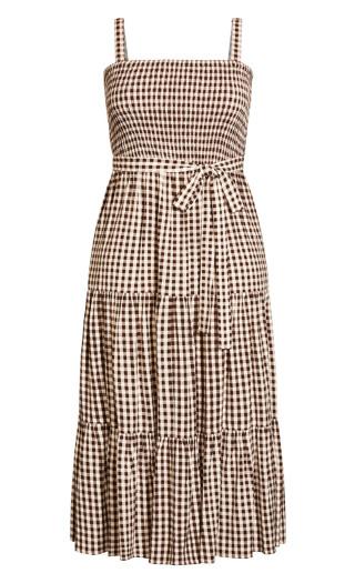 Fresh Gingham Maxi Dress - cocoa