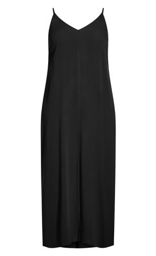 Simple V Neck Maxi Dress - black