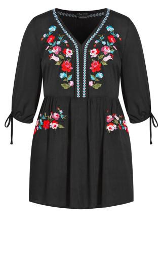 Sunset Embroidered Dress - black