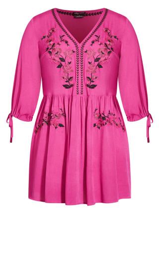 Sunset Embroidered Dress - fuchsia