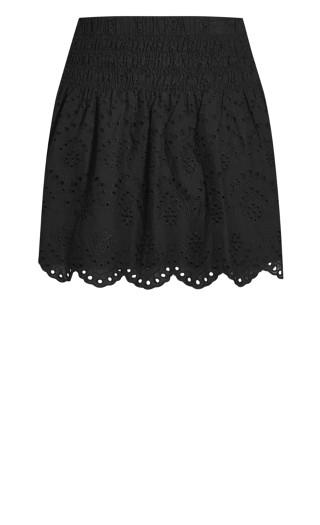 Shirred Waist Skirt - black
