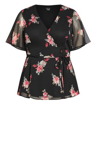 Secret Crush Floral Top - black