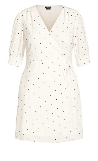 Crush Spot Dress - ivory
