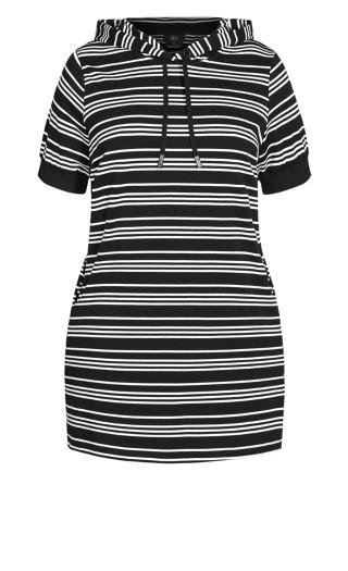 Stripe Hoodie Dress - black