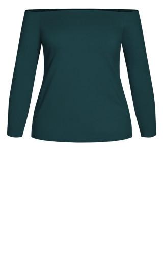 Off Shoulder Basic Top - emerald