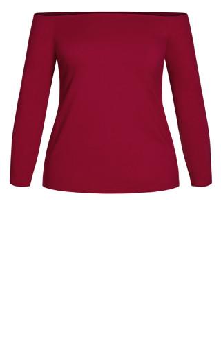 Off Shoulder Basic Top - ruby