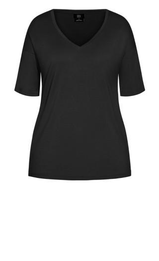 Oversized V Neck Top - black