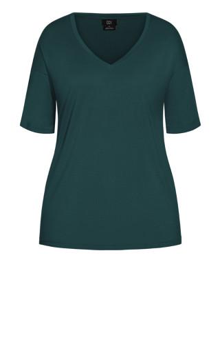 Oversized V Neck Top - emerald