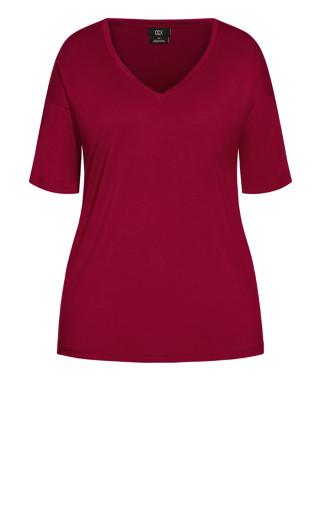 Oversized V Neck Top - ruby