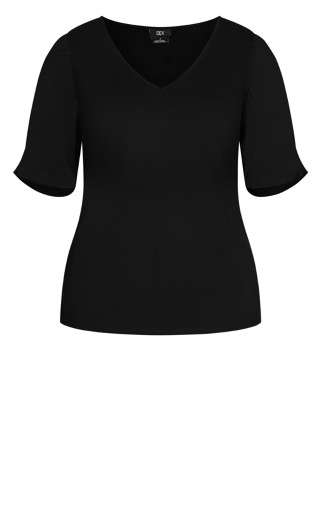 Sweet Ruched Top - black