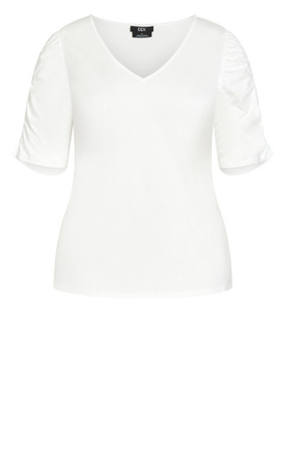 Sweet Ruched Top - ivory