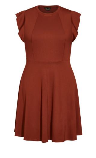 Frill Shoulder Dress - ginger
