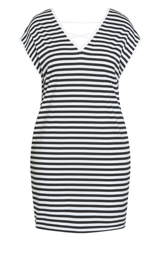 Unravel Stripe Dress - black