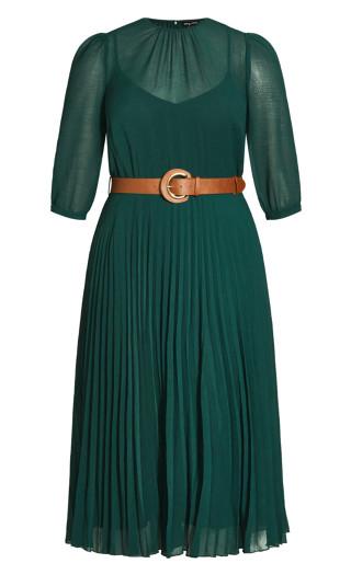 Love Pleat Elbow Sleeve Dress - jade