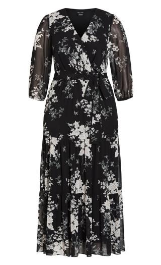 Mini Bouquet 3/4 Sleeve Maxi Dress - black