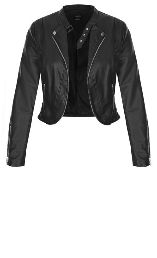 Cropped Biker Jacket - black