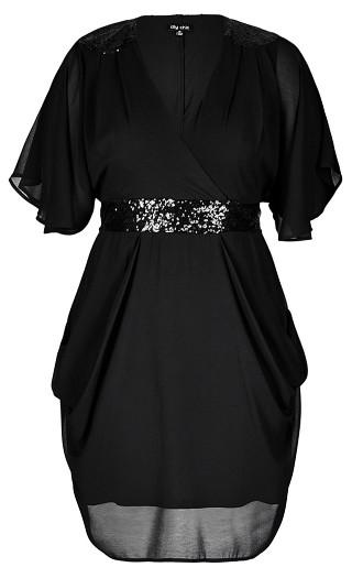 Black Sequin Wrap Dress
