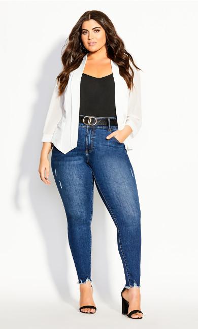 Women's Plus Size Drape Front  Blazer - Ivory