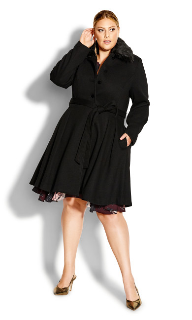 Women's Plus Size Blushing Belle Coat - black