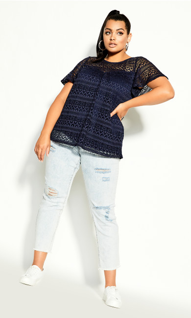 Plus Size Serenity Sleeved Top - navy
