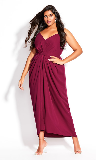 Plus Size Luciana Maxi Dress - fuchsia