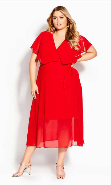 Plus Size Softly Tied Dress - lipstick