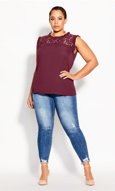 Plus Size Lace Angel Top - plum