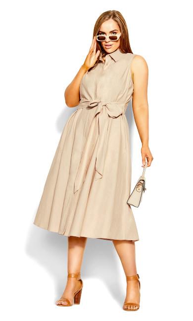 Shirt Detail Dress - pearl