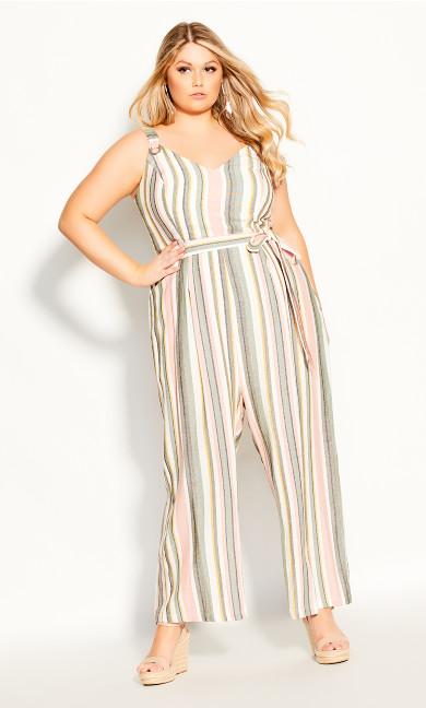Plus Size Wild Stripe Jumpsuit - sage
