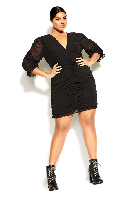 Ruche Love Dress - black